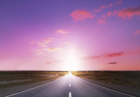 夕日に消える一本の道路 CG