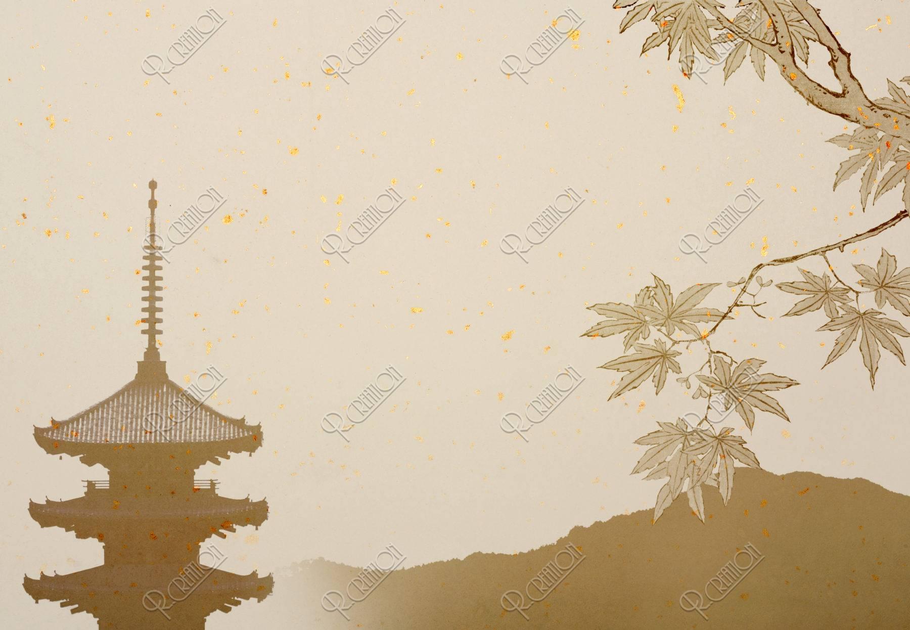 五重塔のある京都イメージ もみじ CG