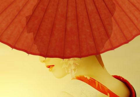 和傘と舞妓イメージ CG