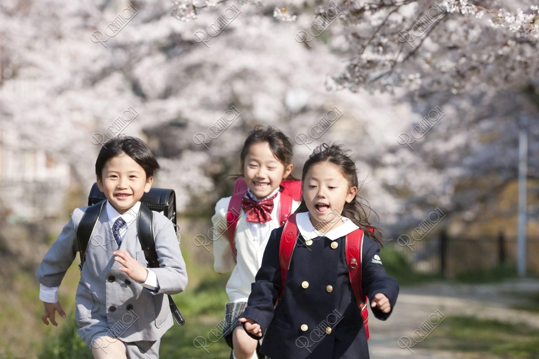 桜と走る小学生