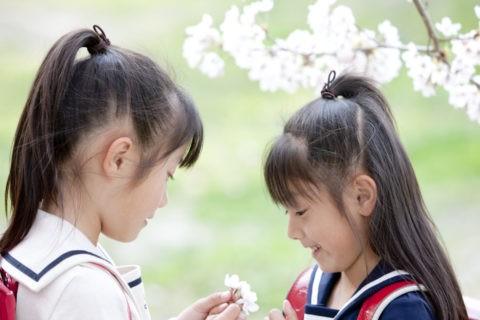 桜の花と小学生