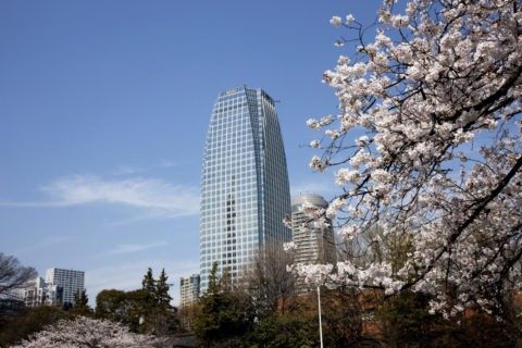 桜と愛宕グリーンヒルズ