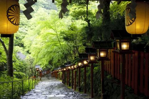 新緑と夕暮れの貴船神社参道