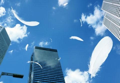 ビルと青空に舞う白い羽根