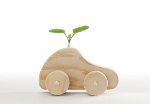 双葉と木の車