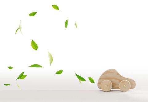 葉っぱと木の車