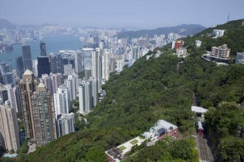 香港ビル群とピークトラム