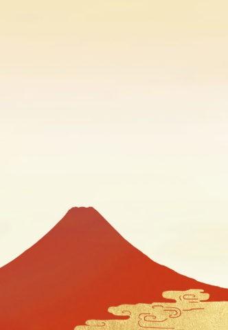 赤い富士山と雲