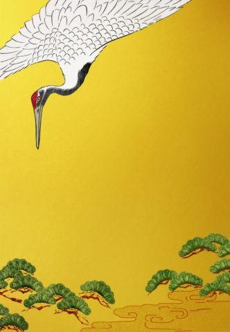 鶴と松 金バック