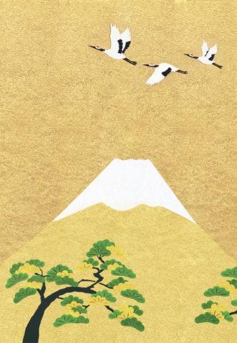 富士山とタンチョウヅルと松