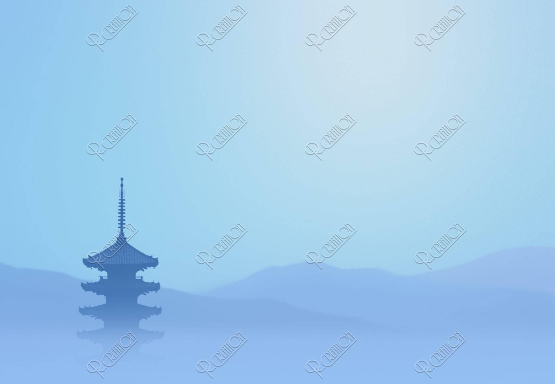五重塔と山並のイメージ