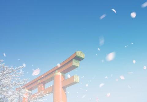 鳥居と桜吹雪