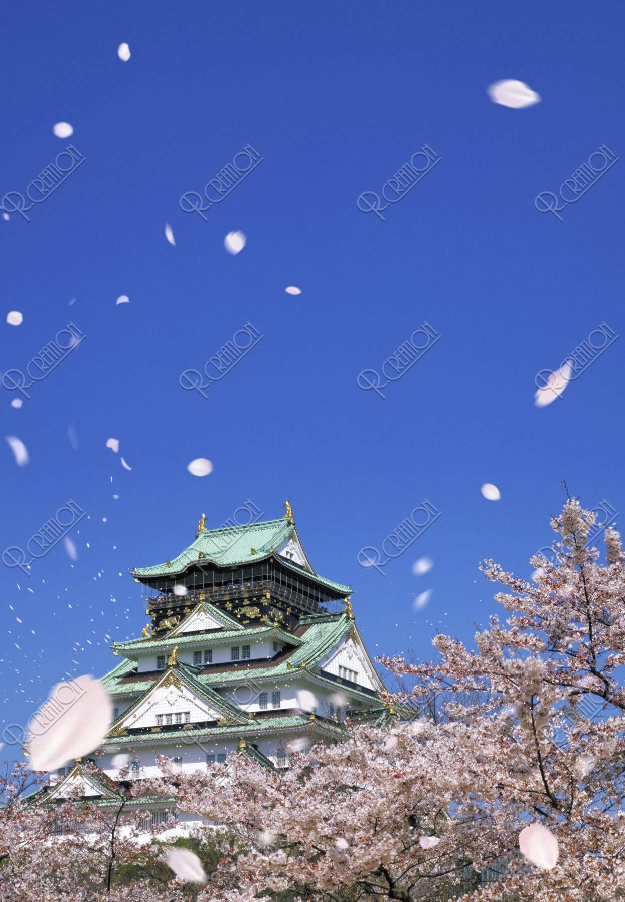 大阪城と桜吹雪
