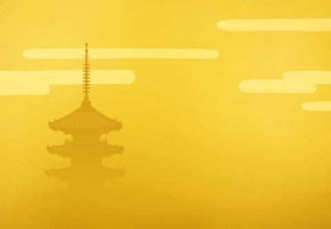 金バックに群雲と五重塔