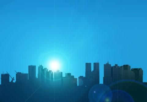 ビル群と太陽