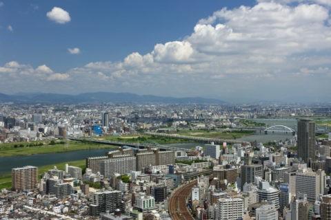 大阪市街と淀川