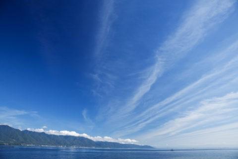 なぎさ公園から琵琶湖と比良山