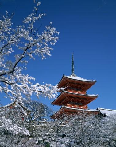雪の清水寺三重塔