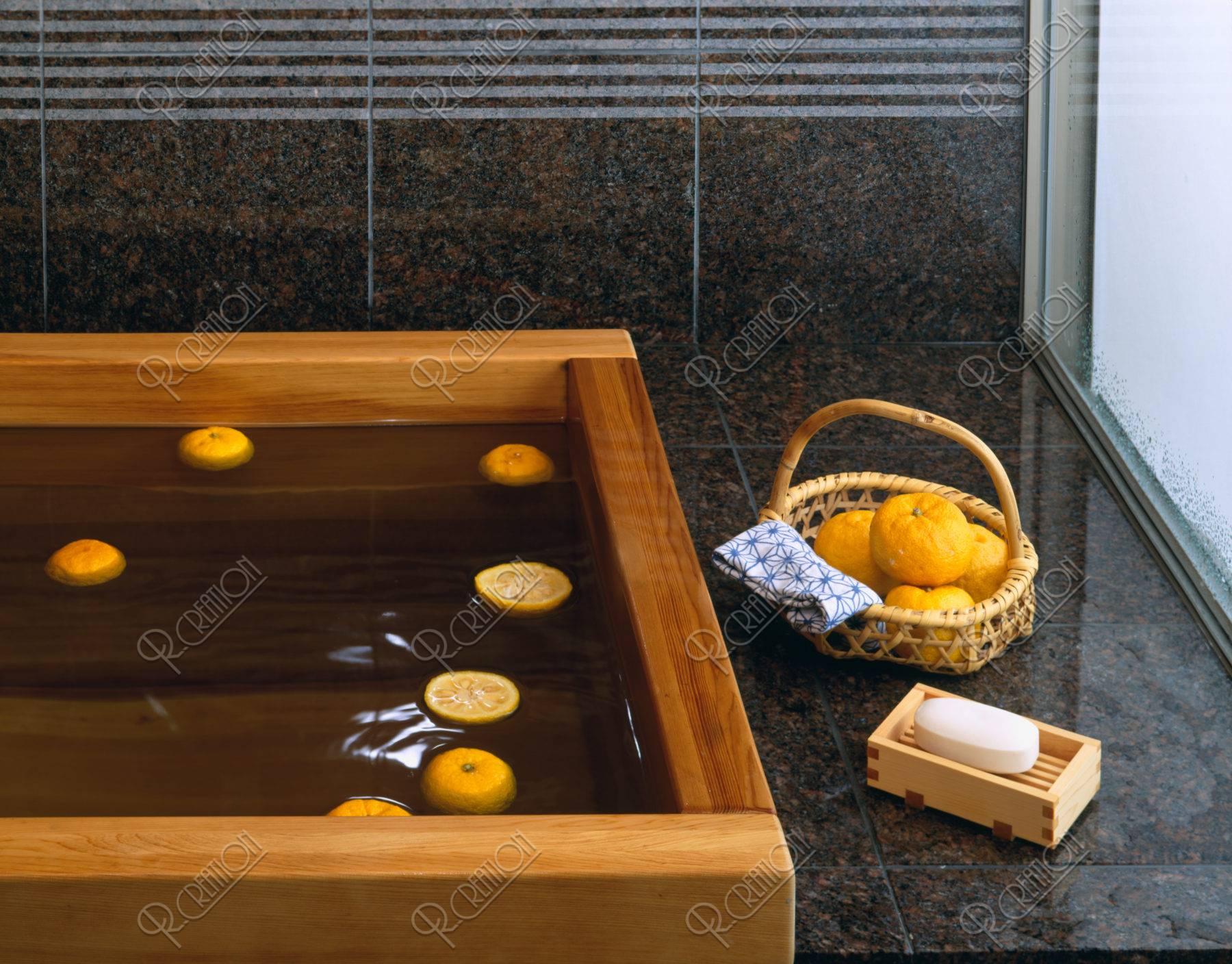 桧のお風呂の柚湯
