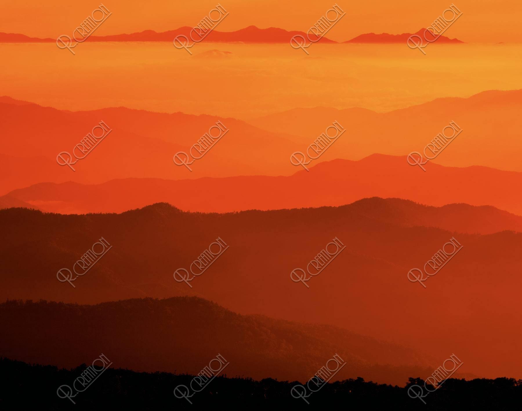 山並と雲海 乳剤面表