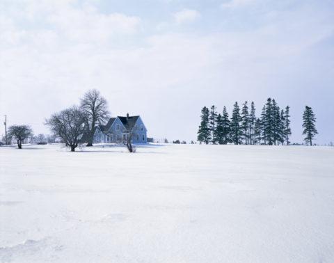 雪の中の青い家