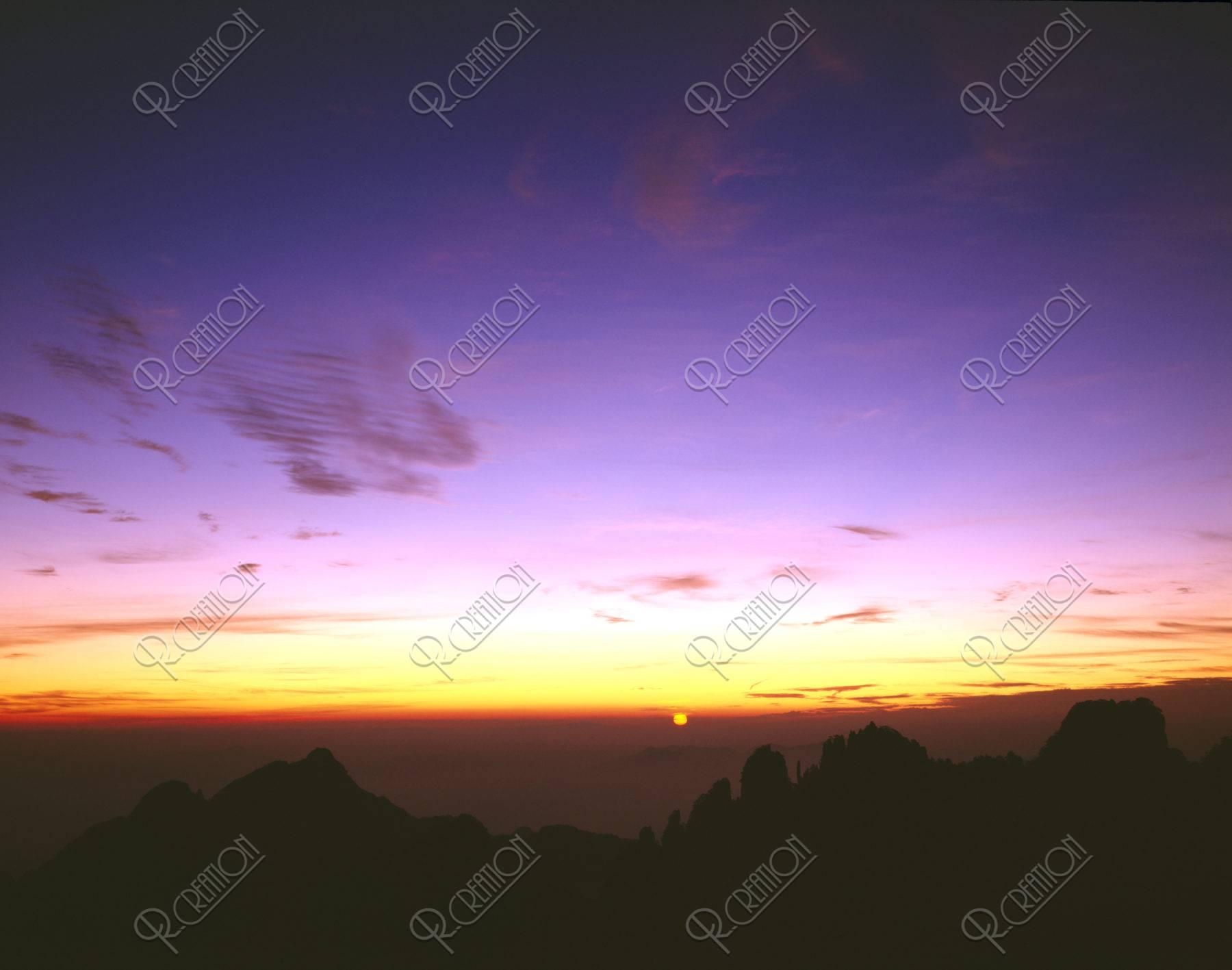 黄山 朝日 清涼台 世界遺産