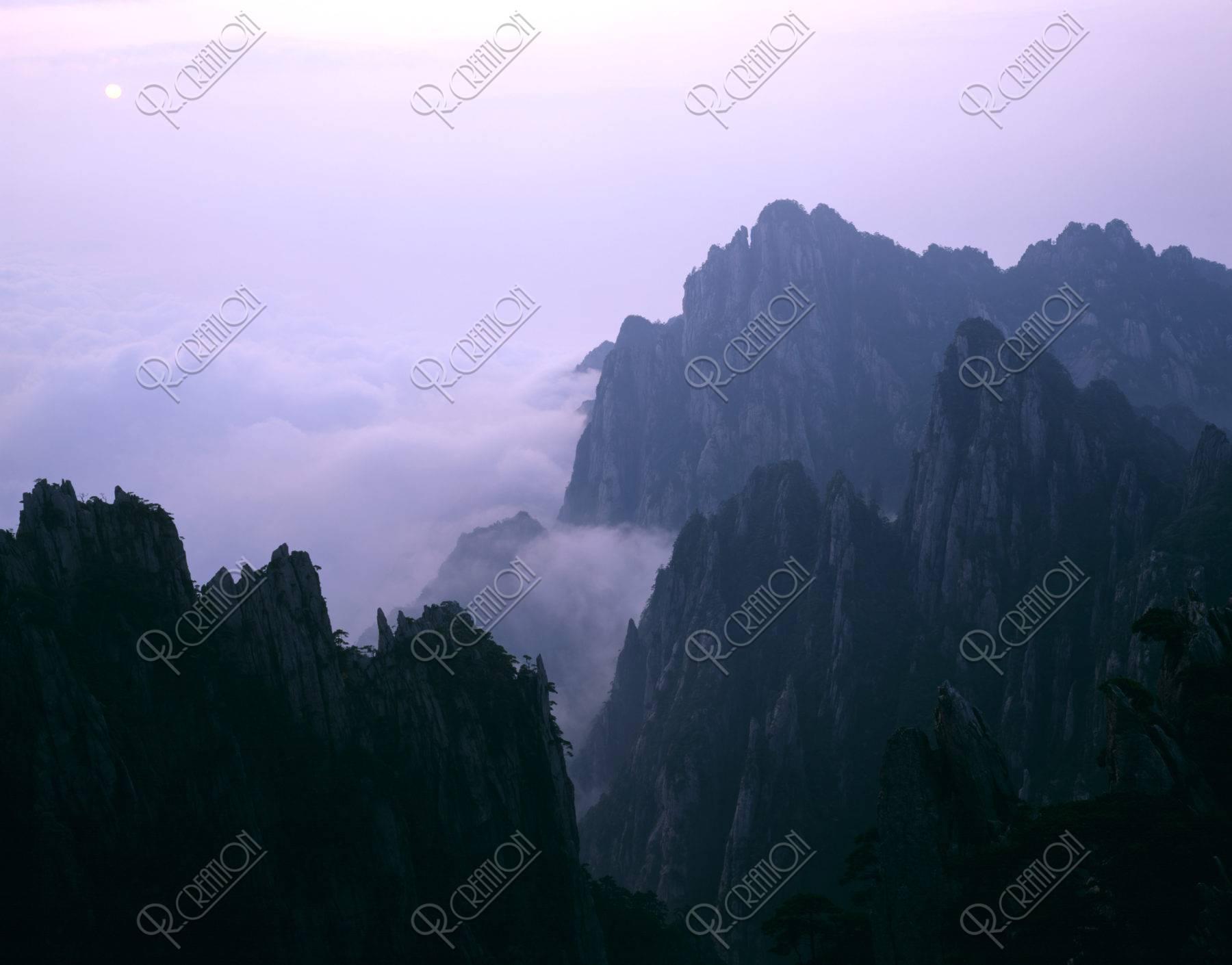 黄山 雲海 太陽 世界遺産
