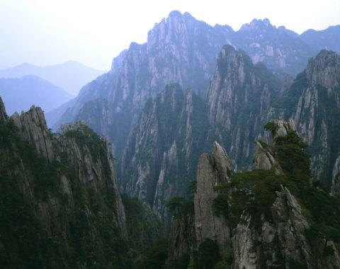 黄山 山並 紅葉 秋 世界遺産