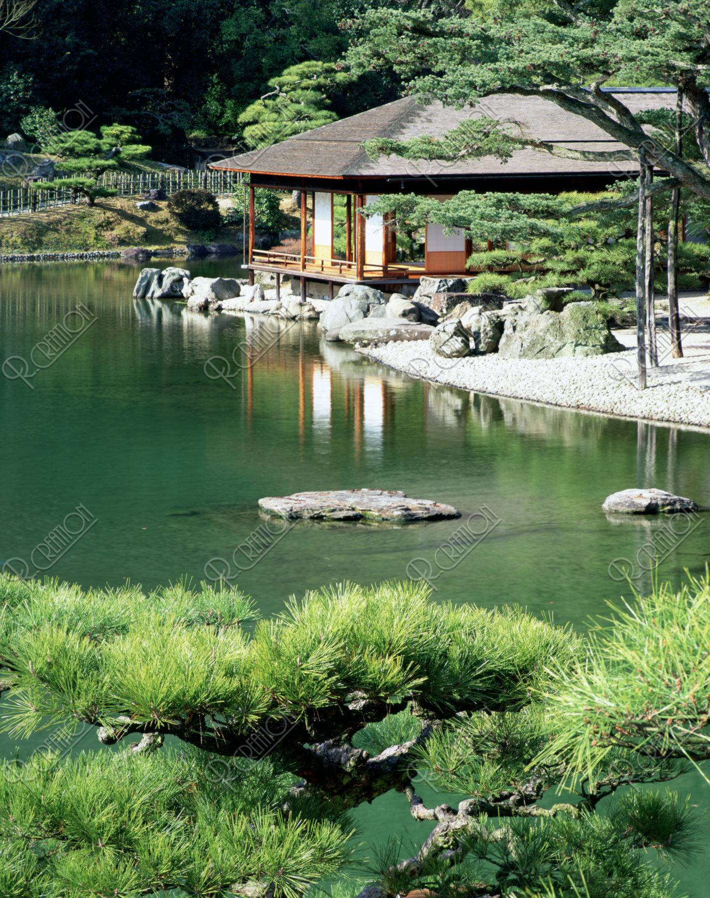 栗林公園 掬月亭 松 茶席 池 数寄屋造り 庭園