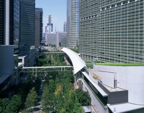 品川ビル群の中の緑