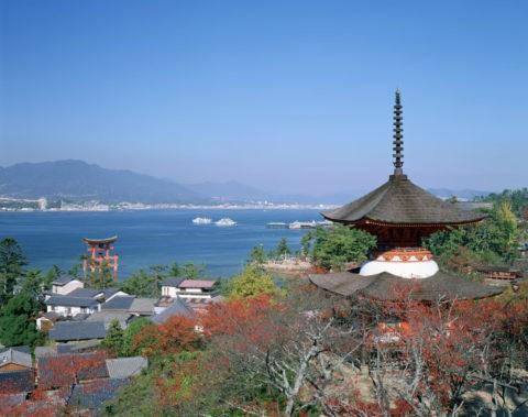 厳島 多宝塔と大鳥居
