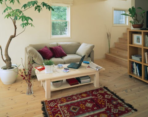 ベージュのソファとラグのある部屋