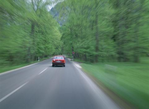 森を走り抜ける車 ドイツ
