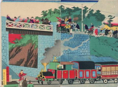 陸橋より汽車を見る 國輝