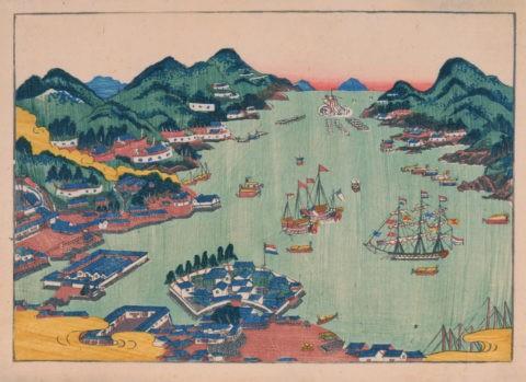 長崎湾出島ふかん図