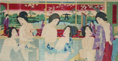 開化温泉の図 周延