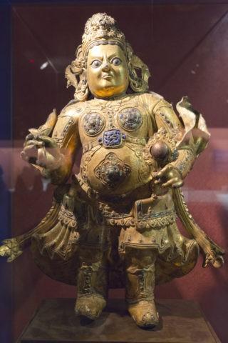 故宮博物院 青銅琉金南天王立像