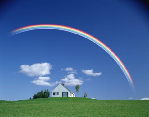 白い家と虹 バーモント