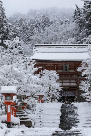鞍馬寺山門と雪