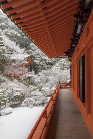 雪の山科毘沙門堂本殿