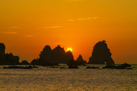 石廊崎 蓑掛岩と朝日