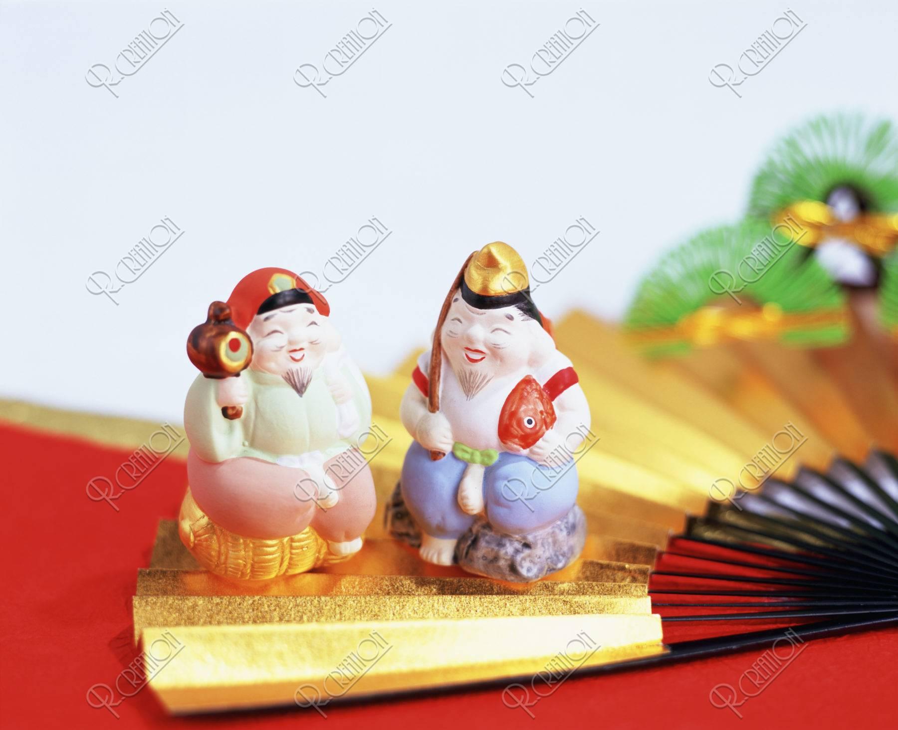 金の扇子と二福神