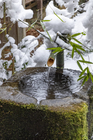 雪積る手水鉢