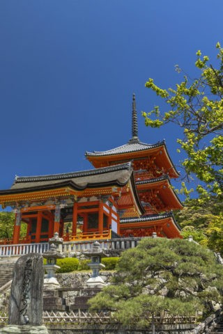 清水寺 西門と三重塔