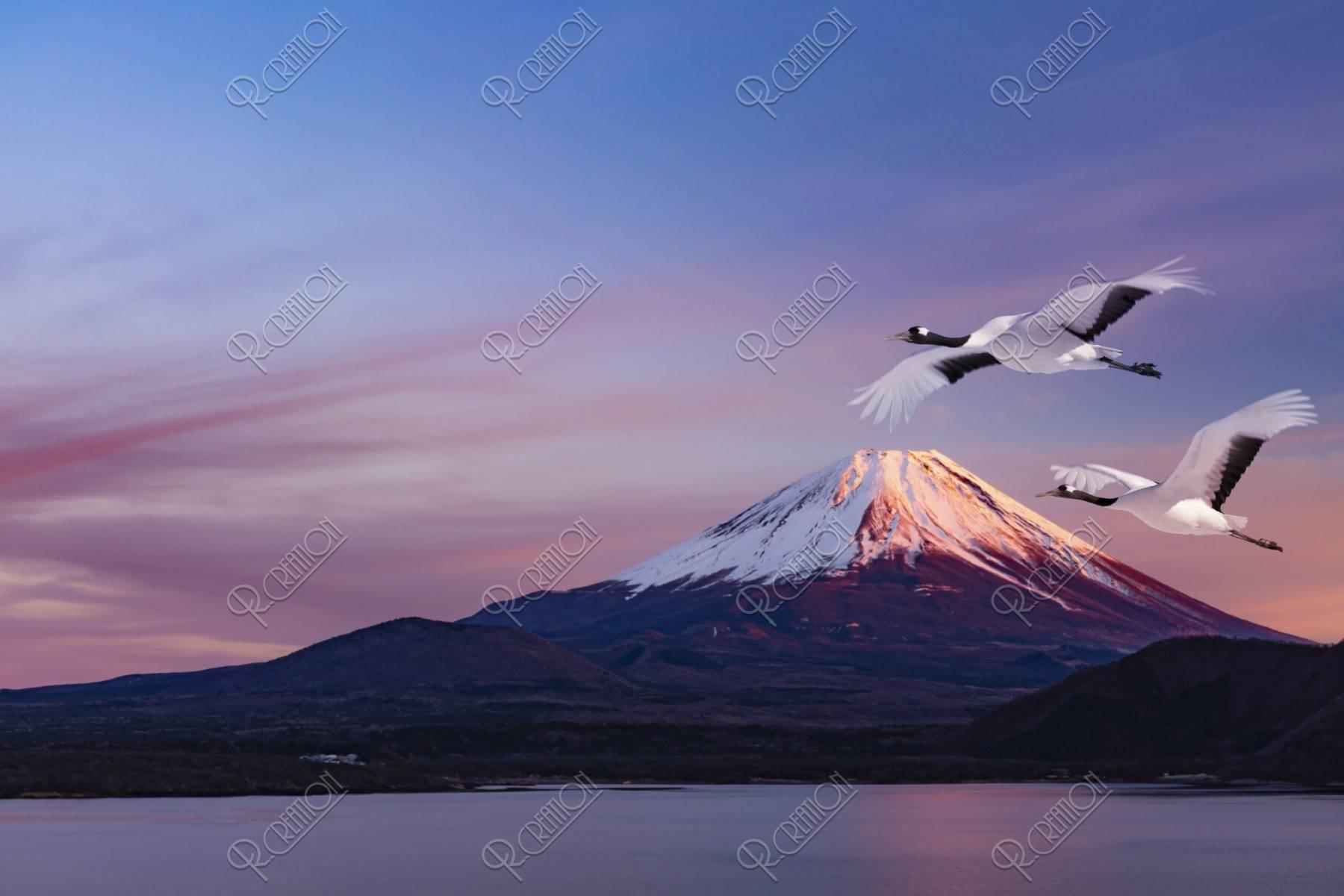 富士山と丹頂鶴CG