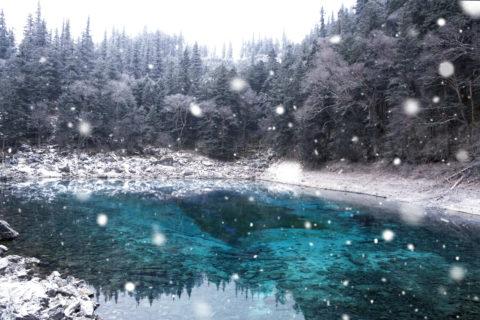 五彩池に降る雪CG