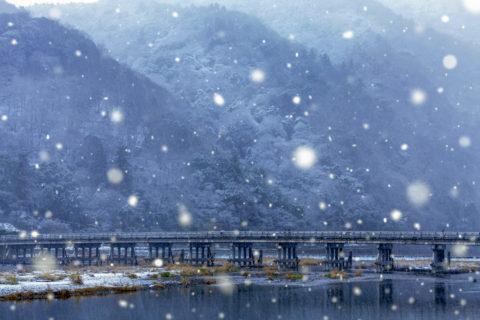 渡月橋に降る雪CG