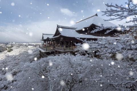 雪の清水寺CG
